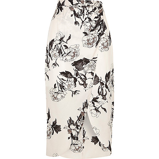 Pink floral wrap front midi skirt