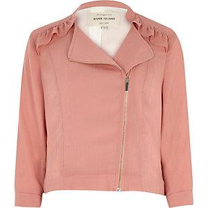 Pink frill biker jacket