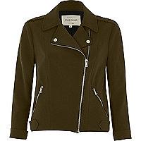 Khaki green zip front biker jacket