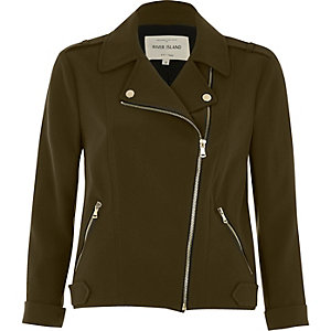 Khaki green zip front biker jacket