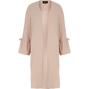 Pink frill cuff duster coat