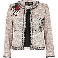 Pink embroidered tweed jacket
