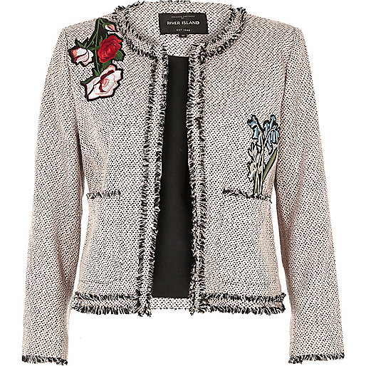 Pink embroidered tweed jacket
