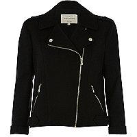 Black zip front jersey biker jacket