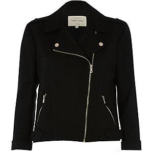Schwarze Biker-Jacke mit Reißverschluss