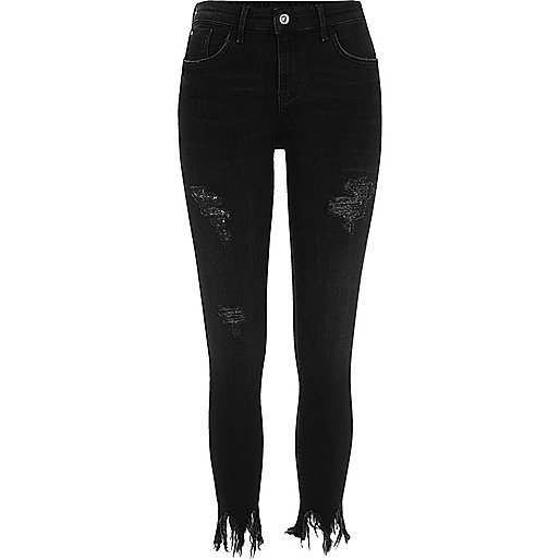 Black frayed Amelie super skinny jeans