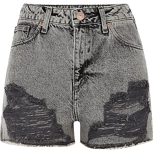 Grey acid wash ripped denim shorts
