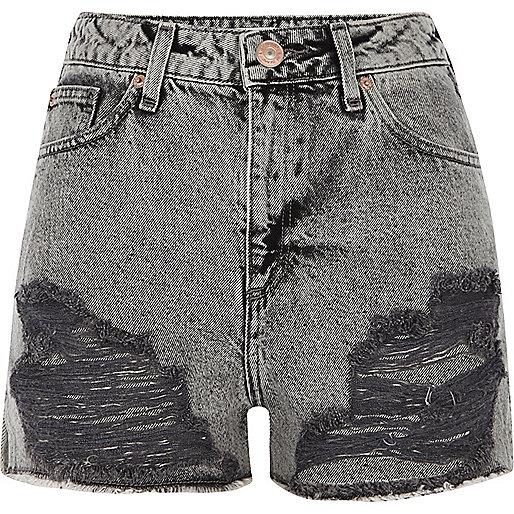 Grey acid wash ripped denim shorts