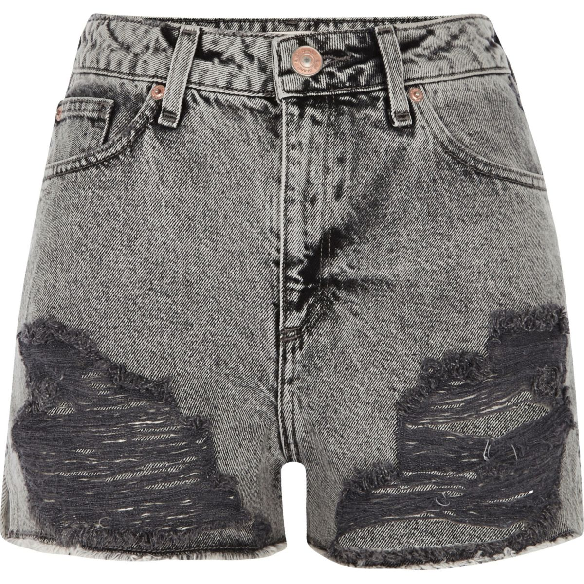 Graue Jeansshorts in Acid-Waschung im Used-Look