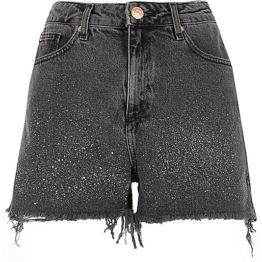 Black washed paint splatter denim shorts