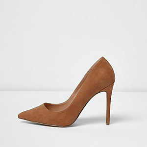 Brown faux suede court shoes
