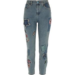 Lori – Blaue, paillettenverzierte Skinny Jeans