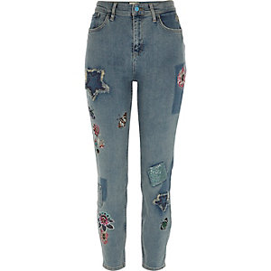 Mid blue Lori sequin floral skinny jeans
