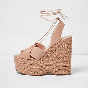 Pink tie up espadrille platform wedges