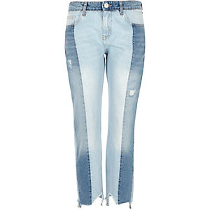 Mid blue panel straight leg jeans