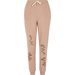 Pink distressed casual joggers