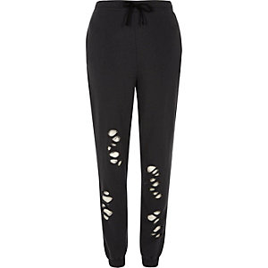 Black distressed casual joggers