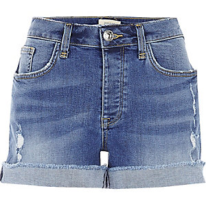Mid wash boyfriend fit denim shorts