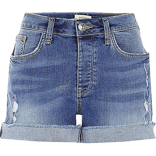 Mid wash boyfriend fit denim shorts - Denim Shorts - Shorts - women