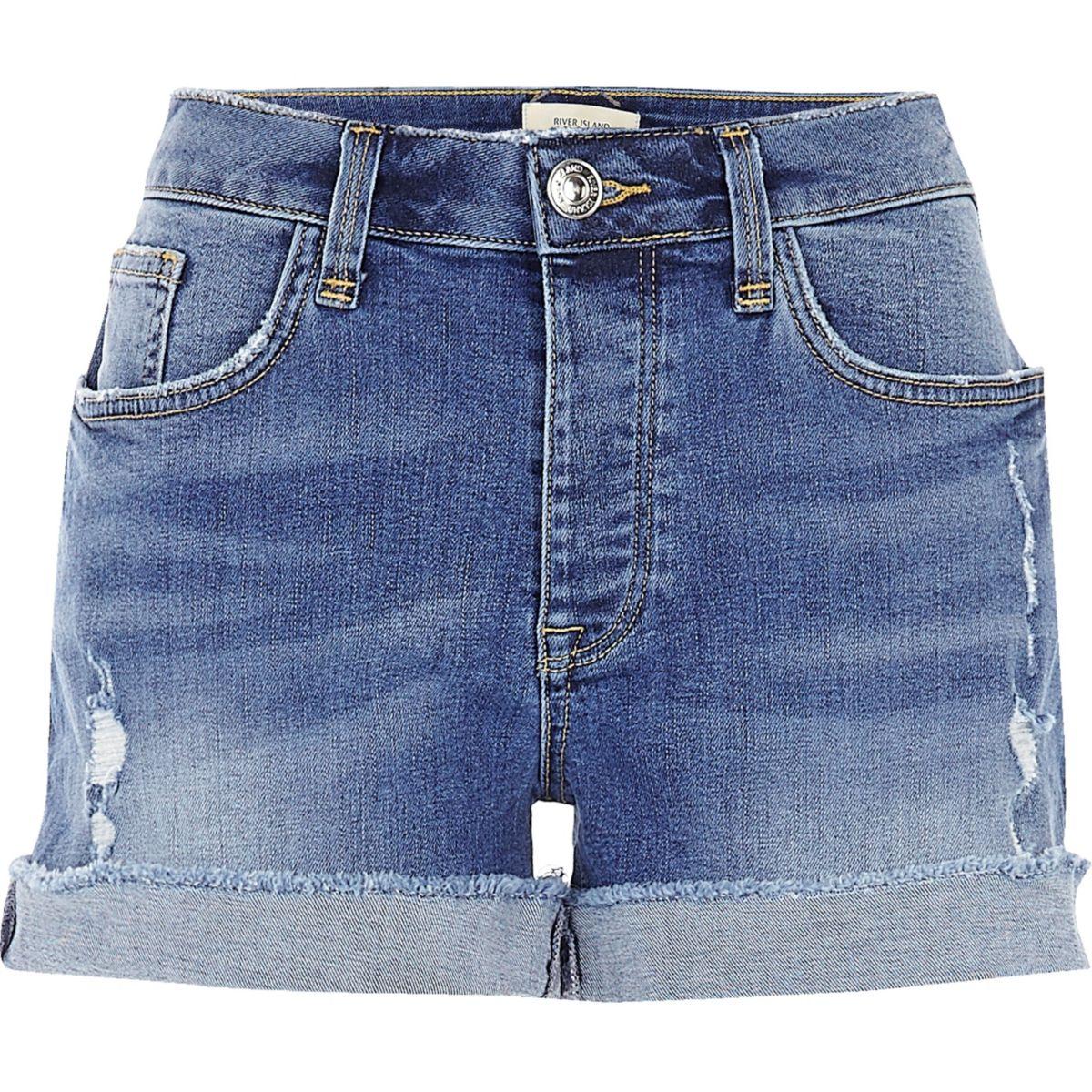 Mid wash boyfriend fit denim shorts
