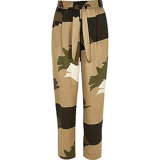 Khaki brown soft tie tapered trousers