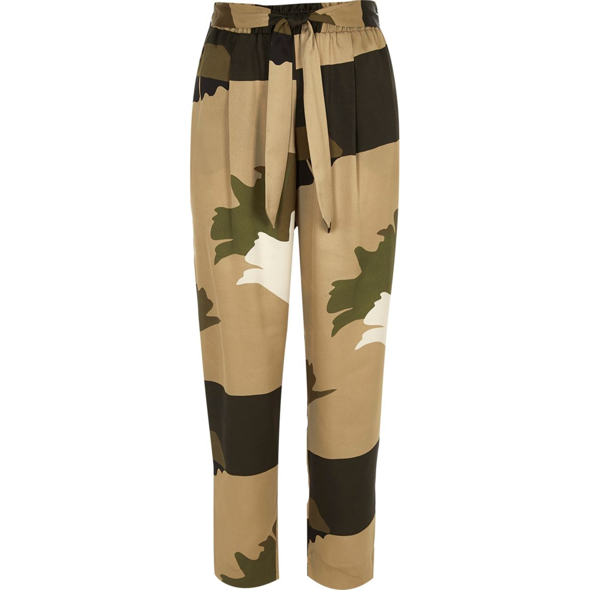 Khaki brown soft tie tapered pants