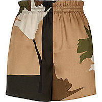 Khaki brown print shorts
