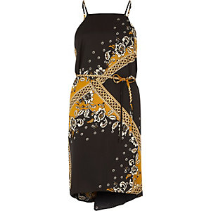 Yellow print string tie slip dress