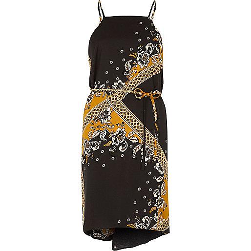 Yellow print string tie slip dress