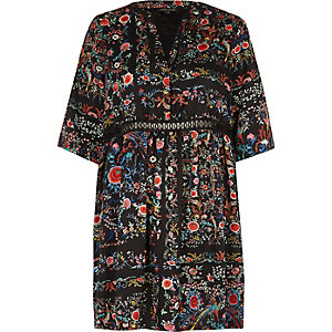 Black print smock swing dress