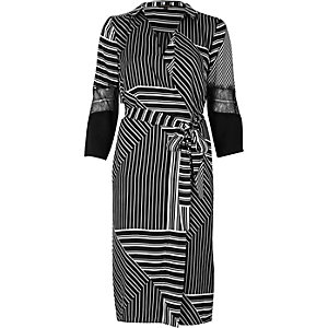 Black stripe plunge wrap dress