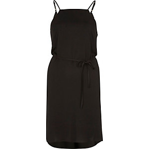Black string tie slip dress