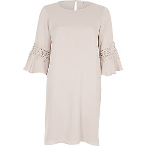Nude trumpet sleeve swing dress