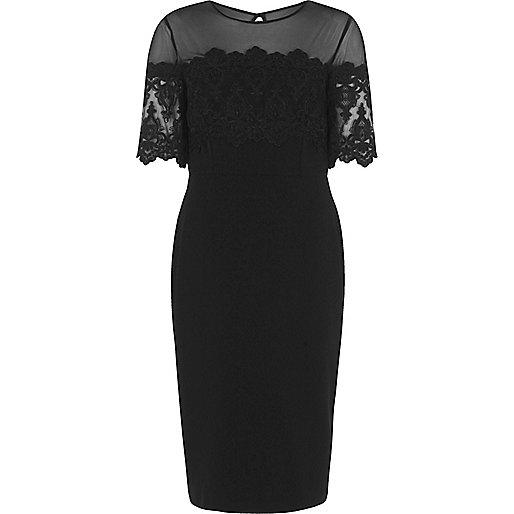 Black mesh and lace panel bodycon midi dress