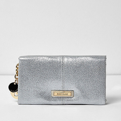 Silver metallic foldover purse