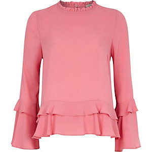 Pink double frill long sleeve top
