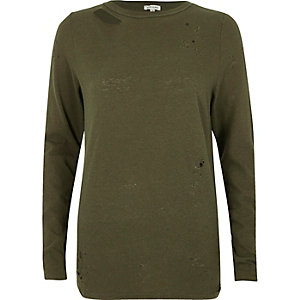 Khaki green distressed long sleeve top