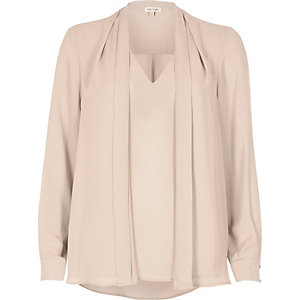 Peach pink 2 in 1 blouse