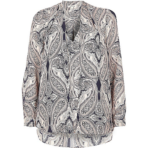 Pink paisley print 2 in 1 blouse