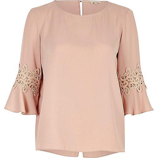 Pink crochet trim bell sleeve top