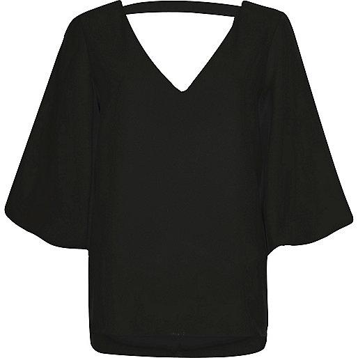 Black plunge puff sleeve top