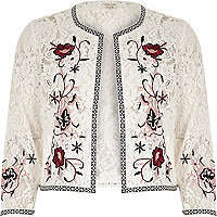 White floral embroidered lace bolero jacket