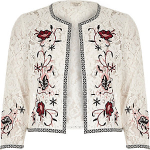 Weiße Bolerojacke mit Blumenstickerei
