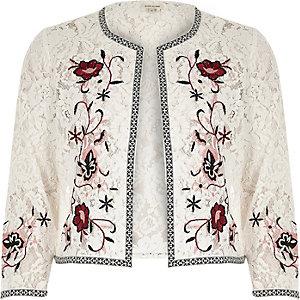 Veste boléro en dentelle brodée motif fleuri blanche