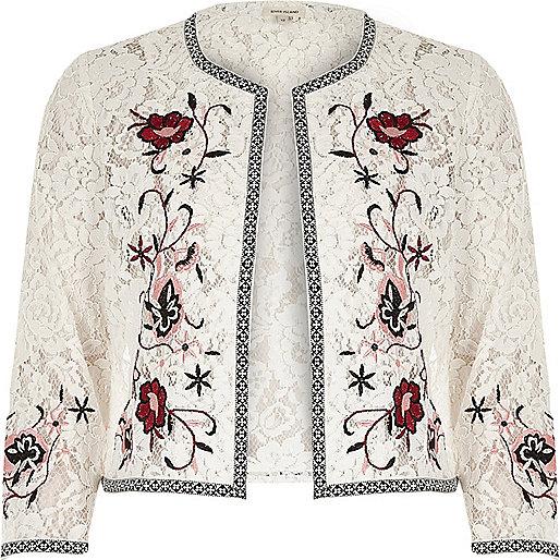 White floral embroidered lace bolero jacket