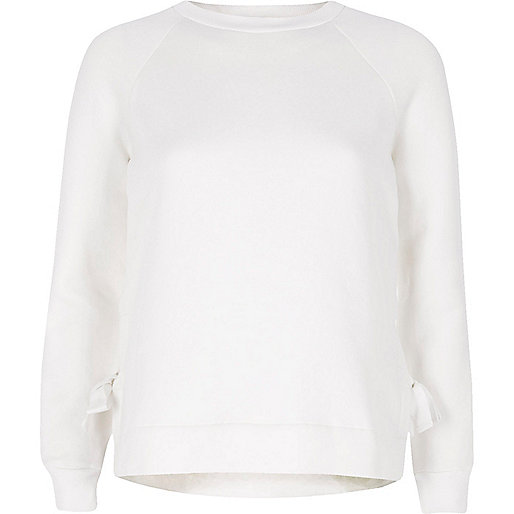 Cream tie side hem sweatshirt
