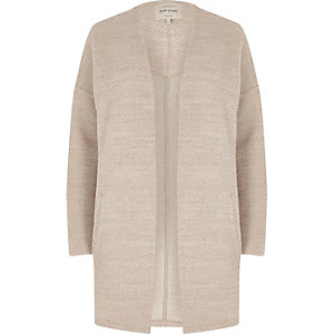 Beige open front cardigan jacket