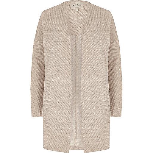 Beige open front cardigan jacket