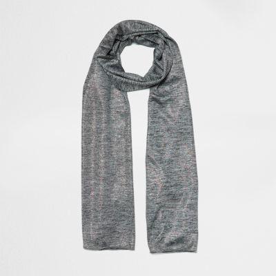 Grijze gemêleerde metallic jersey sjaal