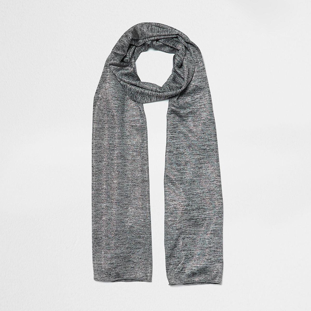 Grey marl metallic jersey scarf